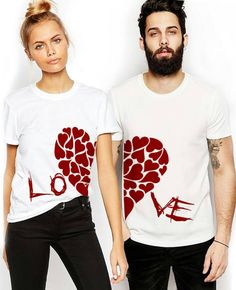 "Couple T-shirts set ""LOVE"" set of 2 couple T-shirts custom couple shirts set of 2 couple shirts Love you tshirt. Gift for her. Gift for him."