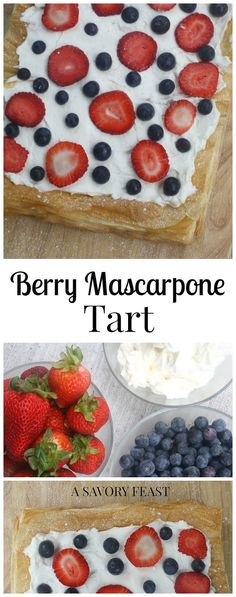 The 4th of July is right around the corner! This delicious Berry Mascarpone Tart is a fun red, white and blue dessert to serve at your party.