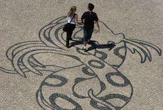 Cobblestone pavement, Lisbon, Portugal