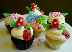 Garden Theme cupcakes with ladybugs, toadstools and flowers made by 350 Classic Bakeshop in Mamaroneck , NY