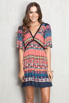 vestido estampado bowie detalhe entremeios | Dress to