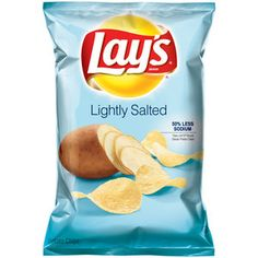 Lay's Lightly Salted Potato Chips, oz Lay's Lightly Salted Potato Chips: No trans fat No cholesterol Potato Chip Flavors, Lays Potato Chips, B 17, Lays Flavors, Frito Lay, Sour Cream And Onion, Food Packaging Design, Junk Food, Snack Recipes