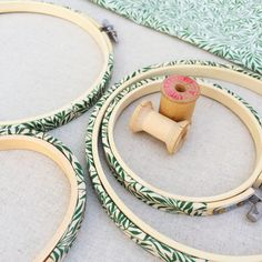 Green Willow Wood Liberty Fabric Tana Lawn Covered Embroidery Hoops - 10 inch with Back