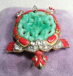 Vintage Trifari Turtle Brooch Pin Alfred Philippe Ming Red Enamel ...