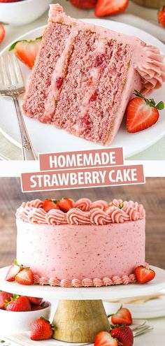 This Homemade Strawberry Cake is full of sweet, fresh strawberry flavor! Moist strawberry cake layers are paired with a strawberry cream cheese frosting for the ultimate strawberry cake! Strawberry Cream Cheese Frosting, Fresh Strawberry Cake, Strawberry Cake Recipes, Strawberry Cake From Scratch, Strawberry Birthday Cake, Best Homemade Strawberry Cake Recipe, Strawberry Cake Decorations, Chocolate Strawberry Cake, Strawberry Puree