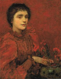 Charles W Bartlett - Study in Red (Emily Gertrude Littlejohns Bartlett) (1897)