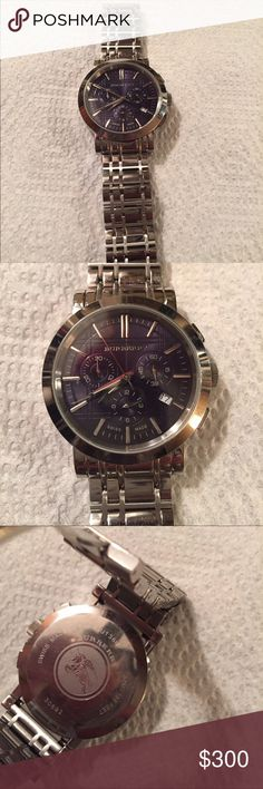 Men's Burberry Swiss Heritage Watch Men's Burberry Swiss Heritage Dk Blue Dial Chrono watch  in excellent condition I do not have the box Burberry Accessories Watches