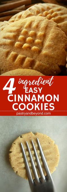 4 Ingredient Easy Cinnamon Cookies-You only need 4 ingredients to make these delicious crunchy cinnamon cookies! Peanut Butter Dessert Recipes, Dessert Recipes For Kids, Easy Cookie Recipes, Homemade Desserts, Cheap Recipes, Fall Recipes, Baking Recipes, Dinner Recipes, 4 Ingredient Desserts
