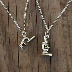 Bursting with personality and character, these two differently styled pendants capture the essence of the microscope in a unique and clever necklace. The VINTAG Cute Jewelry, Jewelry Gifts, Jewelry Box, Jewelry Accessories, Jewelry Necklaces, Unique Jewelry, Jewelry Supplies, Women's Jewelry, Handmade Jewelry