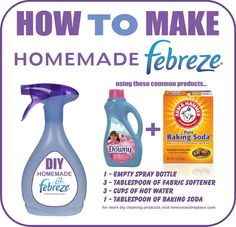 We all love Febreze Air Freshener but it can sometimes be expensive. Why not make your own DIY Febreze Fabric Freshener and save some money!DIY Homemade Febreze is so easy to make and you will save… Homemade Cleaning Supplies, Diy Home Cleaning, Household Cleaning Tips, Cleaning Recipes, House Cleaning Tips, Cleaning Hacks, Household Cleaners, Diy Hacks, Essential Oils Cleaning