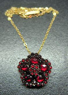 Antique VICTORIAN Pentagonal ROSE CUT RED GARNET Pendant LAVALIERE NECKLACE 1880 $70