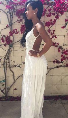 0dbfc4368bc7 Dress Lace · Godmothers · Women s · Hairstyles · Vestido Longo Branco Renda  Plissado Azza Boutique