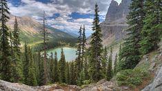 Góry, Jezioro, Wysokie, Iglaste, Drzewa, Chmury