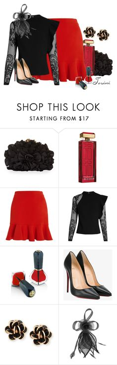 """""""Black and Bold"""" by tosini ❤ liked on Polyvore featuring Franchi, Elizabeth Arden, SemSem, self-portrait, Oribe, Christian Louboutin, Chantecler, Dorothy Perkins, black and red"""