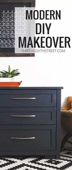 Learn How To Create Beautiful Furniture For Your Home By Painting And Refinishing Old Furniture. This Modern DIY Furniture Makeover Features Queenstown Grey Paint and Copper Furniture Hardware. Thrift Store Cabinet Gets An Easy Furniture Makeover! #queenstown #repurposedfurniture #paintedfurnitureideas #copper