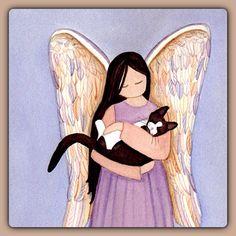 Angel with Tuxedo Cat