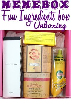 Fun Ingredients Memebox review, unboxing, with wine, cheese, honey and banana-based skincare products.