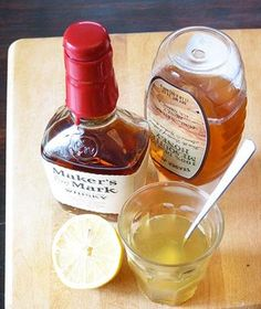 Bourbon Cough Syrup for Grownups - uses 2 oz. bourbon whisky, lemon, juiced, 2 to 4 oz. Mix and microwave or heat on stovetop and drink warm. Natural Cough Remedies, Flu Remedies, Natural Cures, Herbal Remedies, Health Remedies, Natural Health, Natural Treatments, Honey Cough Remedy, Honey For Cough