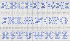 Cross stitch or needlepoint alphabet free pattern Cross Stitch Alphabet Patterns, Alphabet Charts, Embroidery Alphabet, Cross Stitch Letters, Embroidery Monogram, Cross Stitch Samplers, Cross Stitch Charts, Cross Stitch Designs, Cross Stitching