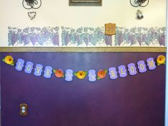 Love is in Bloom bridal shower or wedding banner, purple with Gerber daisies