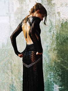 completely lovely backless black lace/sheer bohemian/gypsy dress.