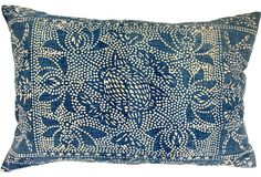 Pillow made of classic handwoven cotton batik from the Hmong hill tribes of Southeast Asia. Natural linen back with zipper closure and feather/down pillow insert; 27″L × 18″H.