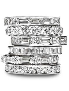 Platinum wedding bands with brilland and baguette cut diamonds by Harry Winston