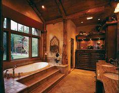 Log Home Bathrooms On Pinterest Homes