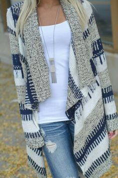I want a sweater cardigan that is thick. I like the water front rather than the straight, boxier look.