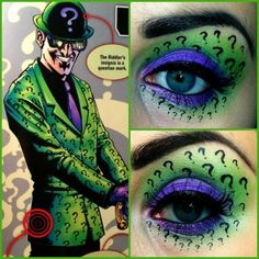 I'm going to be doing a series of make-up designs based on the DC Comic book characters. Starting with The Riddler. DC Comic's The Riddler Looks Halloween, Halloween Eye Makeup, Halloween Eyes, Halloween 2017, Halloween Costumes, The Riddler, Batman Riddler, Make Up Art, Eye Make Up