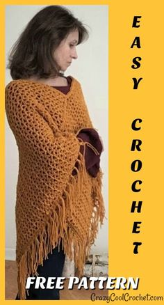 FREE PATTERN for this easy crochet poncho. Perfect for Thanksgiving or Christmas holidays. # FREE PATTERN for this easy crochet poncho. Perfect for Thanksgiving or Christmas holidays. Crochet Shawl Free, Crochet Hats, Free Crochet Poncho Patterns, Dress Patterns, Crochet Sweaters, Crochet Shrugs, Kids Crochet, Scarf Patterns, Crochet Shirt