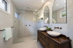Pictures For Bath Simple Bathroom Designs, Bathroom Design Small, Bathroom Layout, Antique Vanity, Antique Mirrors, Antique Brass, Bathroom Renovations, Bathroom Furniture, Building Design