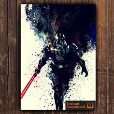 Poster de Darth Vader Star Wars Poster, Poster Digital, cartel acuarela, impresión de Darth Vader, Star Wars impresión