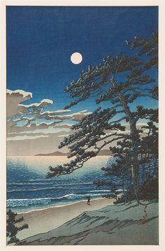 "KAWASE HASUI Oban tate-e ""Spring Moon at Ninomiya Beach""."