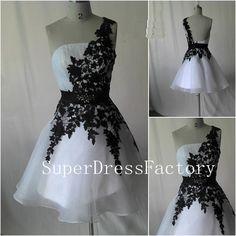 Hot sale one shoulder organza high quality black lace prom dress,short prom dress,knee length evenin dress on Etsy, $115.00