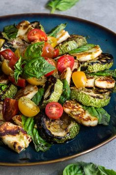 Grilled Halloumi and Summer Squash Caprese Salad - a twist on the beloved classic, made with grilled summer squash, and halloumi cheese.