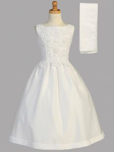 Beaded Satin First Communion Dress with Tulle Skirt - SP917 – Mollys Hanger