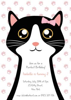 Cats With Down Syndrome Cat Birthday, 6th Birthday Parties, Third Birthday, Kitten Party, Cat Party, Birthday Party Invitations, As You Like, Cats, Eye Stone