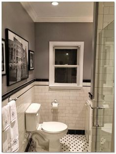 White bathtub tile ideas bathroom remodel subway tile penny tile floor bathrooms black and white bathroom Bad Inspiration, Bathroom Inspiration, Classic Bathroom, Modern Bathroom, Master Bathroom, Basement Bathroom, White Bathrooms, Brown Bathroom, Classic Small Bathrooms
