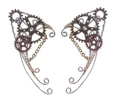These flawlessly formed Elf Ear Cuffs are made of aluminium with copper and multi color gears at the top! Handcrafted from metal wire, the additional gears make it look exceptionally unique and the se Steampunk Fairy, Steampunk Gears, Victorian Steampunk, Steampunk Fashion, Steampunk Crafts, Gothic Jewelry, Boho Jewelry, Jewlery, Elf Ear Cuff