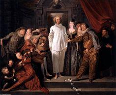 'Comédiens italiens', huile sur toile de Jean Antoine Watteau (1684-1721, France)
