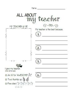 """""""All About My Teacher"""" Printable FREE"""