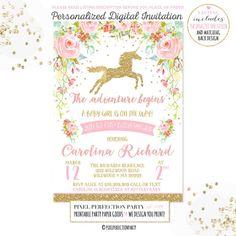 Unicornio bebé ducha invitación unicornio Floral oro rosa bebé ducha invitación caprichosa unicornio bebé ducha invitación mágico Baby Shower