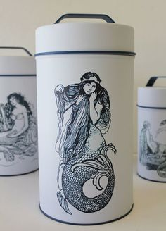 but, next time I visit we are decorating your bathroom! Mermaid Cylinder Tin Cans - Nautical Canisters - Beach Coastal Kitchen Decor Mermaid Bathroom, Beach Theme Bathroom, Bathroom Ideas, Nautical Home, Nautical Interior, Nautical Kitchen, Kitchen Themes, Kitchen Decor, Up House