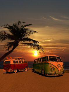 Sunset - VW Bus Campers at Surf Beach art silk Poster Vw Camper Bus, Volkswagen Bus, Vw Caravan, Vw T1, Volkswagen Beetles, Volkswagen Germany, Volkswagen Models, Volkswagen Transporter, Vw Beach