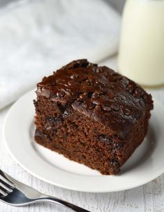 Double chocolate zucchini cake - made with half the oil. It's so moist, no one will miss it!