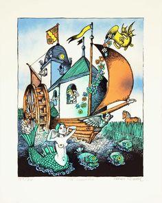 Hans Arnold - På Svartån Art Deco Flowers, Creepy Horror, Illustration Art, Illustrations, Merfolk, Inner Child, Horror Stories, Adult Coloring, Mermaids