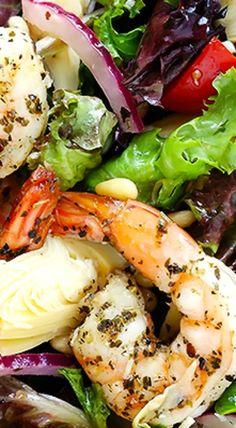 Shrimp & Artichoke Green Salad With Lemony Vinaigrette