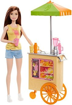 Explore the fruitful fun of owning a juice shop with this Barbie Smoothie Chef play set. Designed to really roll on its bright orange wheels the juice cart is decorated with images of fresh fruit and... Mattel Barbie, Barbie And Ken, Mattel Shop, Baby Barbie, Ken Doll, Mobile Bar, American Girl, Barbie Website, Orange Wheels