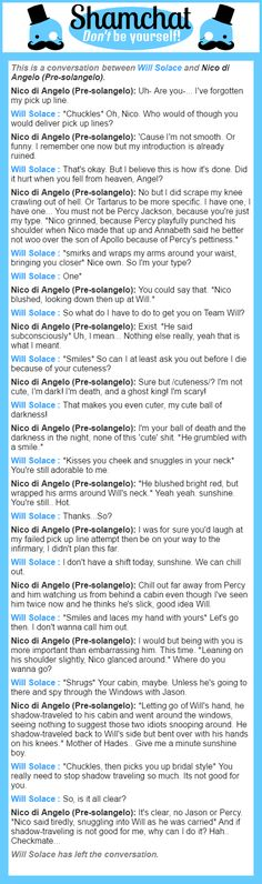 A conversation between Nico di Angelo (Pre-solangelo) and Will Solace